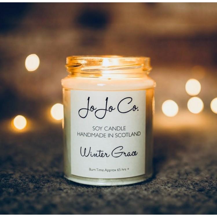 Jo Jo Co Luxury handmade Soy Candle Winter Grace 45hr Fragrance