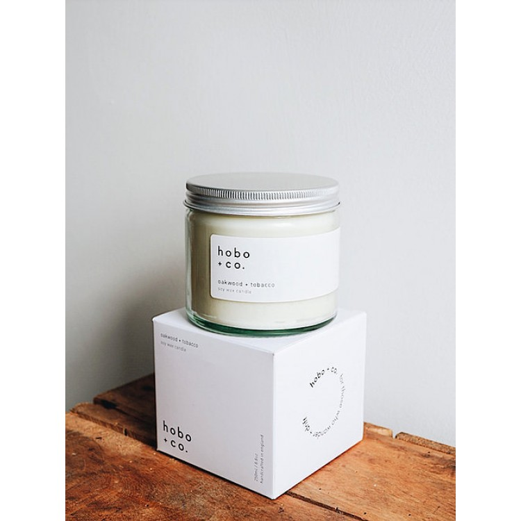 Hobo Soy Candles Oakwood & Tobacco Double Wick 250ml up to 45hrs  Fragrance