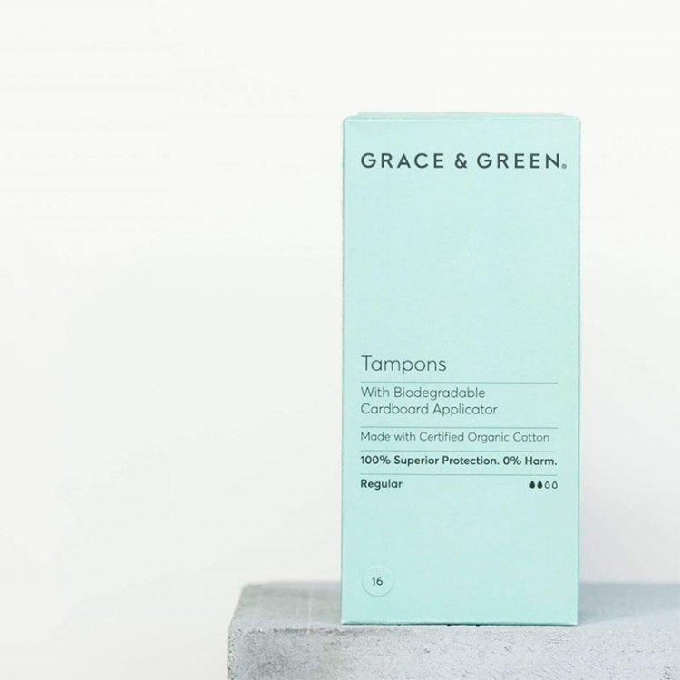 Grace and Green Organic Regular Tampons with Applicator: 16 in a Box Bodycare