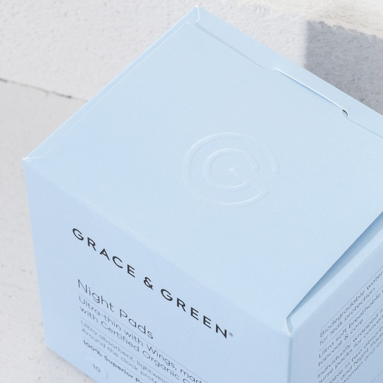Grace and Green Organic Cotton Night Pads: 10 in Box Bodycare