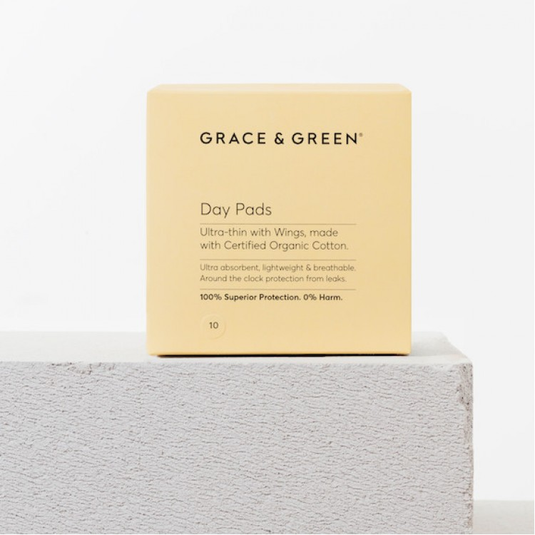 Grace and Green Organic Cotton Day Pads: 10 in Box Bodycare
