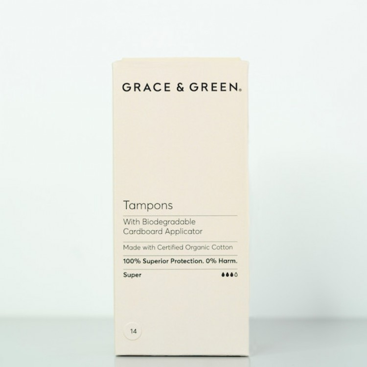 Grace and Green Organic Super Tampons with Applicator: 14 in a Box Bodycare
